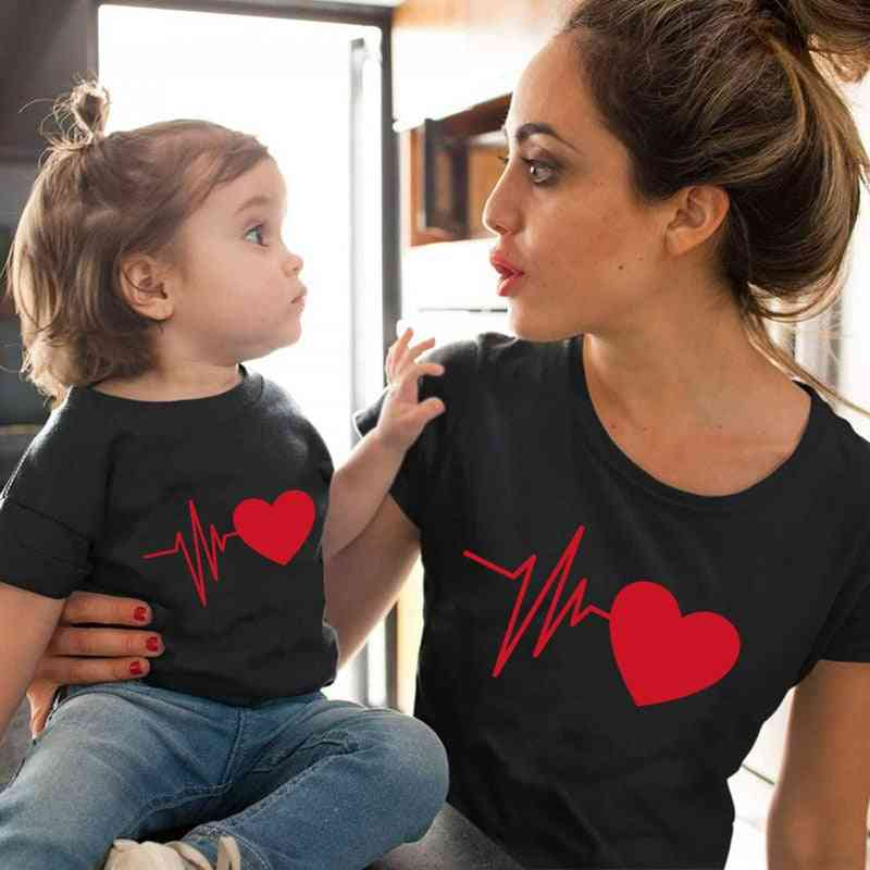Love Heartbeat Cotton Family Matching Clothes, Baby Mama Tshirt
