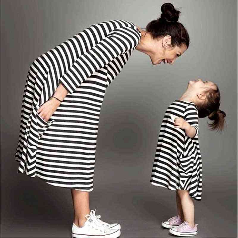 Family Matching Mother-daughter Dresses, Striped Mom Dress