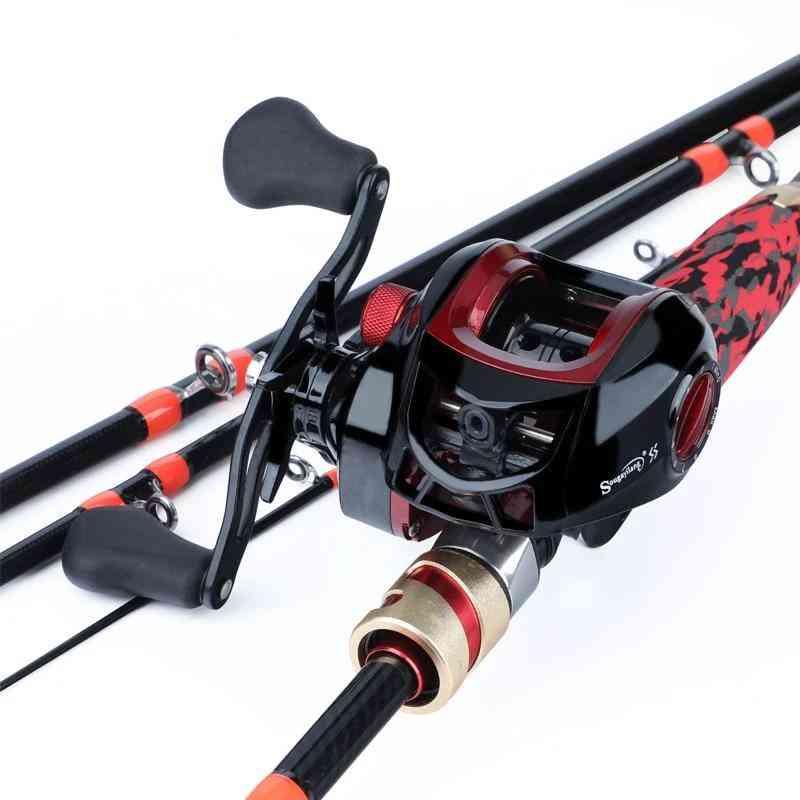Casting Fishing Combo Portable 4 Section Carbon Fiber Rod