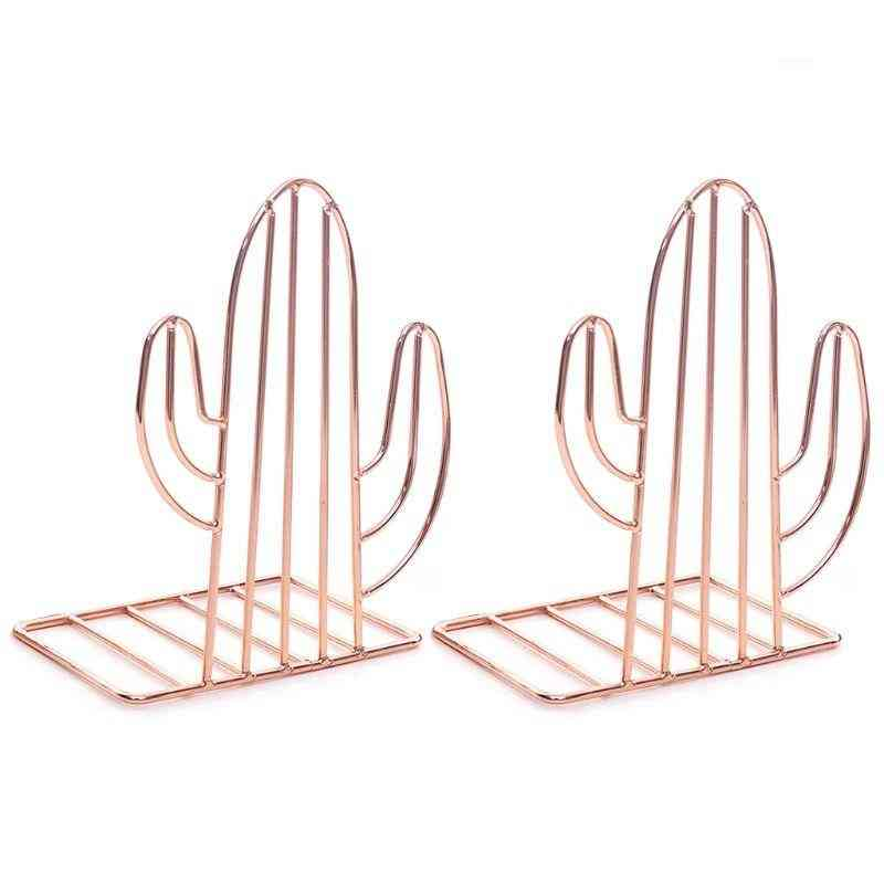 Creative Cactus Shaped Metal Bookends Book Support Stand