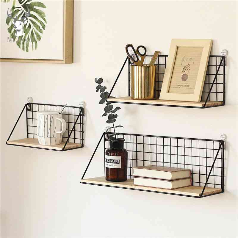 Home Office Wall Shelf Rack Iron Wooden Shelf For Kitchen Bedroom Office Decorative Wall Shelves