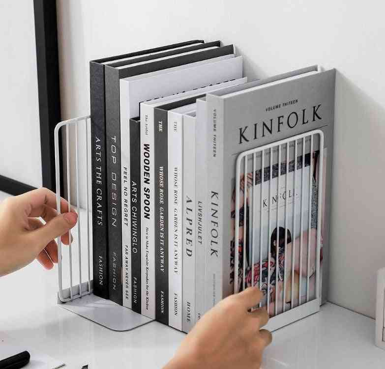 Bookend Book Stand Support Simple Iron Desktop Non Slip Rack Shelf Holder