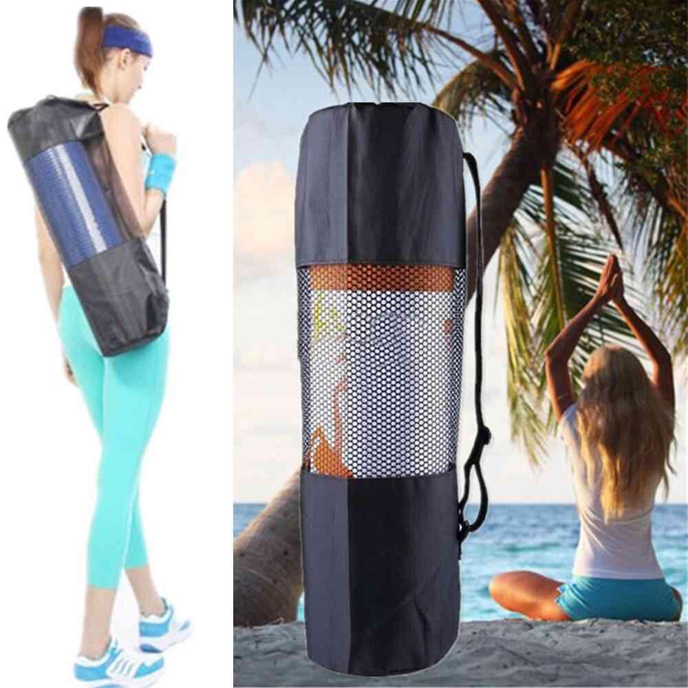 Nylon Mesh Center Yoga Mat Bag Adjustable Strap