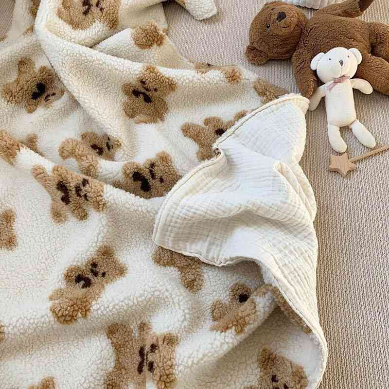 Cartoon Brown Bear Sherpa Blanket, Office, Family, Kindergarten Napping Throw Quilt For Adult,, Kids, Teen,