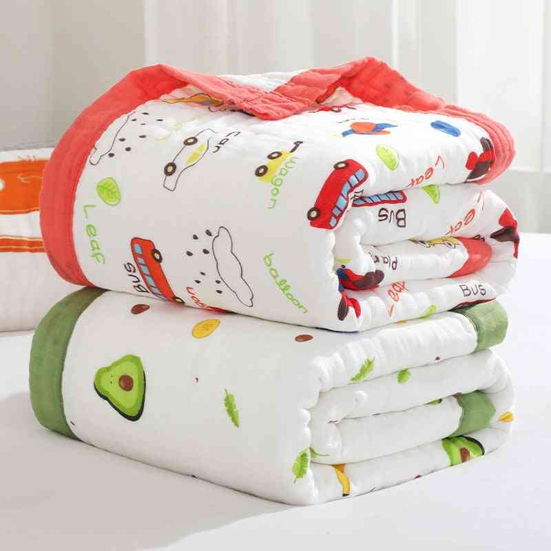 Baby Quilt Infant Stroller Bedding Covers, Pure Cotton, Cartoon Printing, Newborn Bath Towel