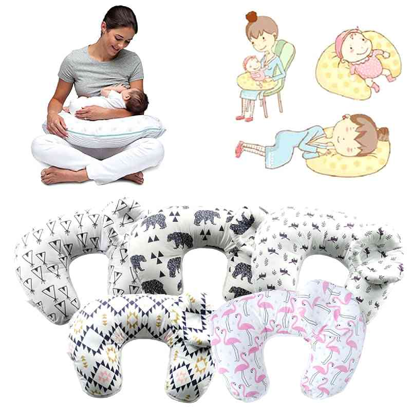 Baby Nursing Pillows, Maternity Breastfeeding Infant U-shaped, Newborn Cotton Feeding Waist Cushion
