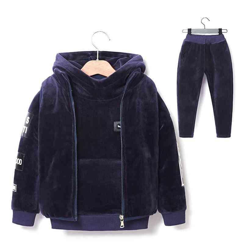Brand Warm Thicken Fleece 3pcs Sets Kids Clothes Casual Suit