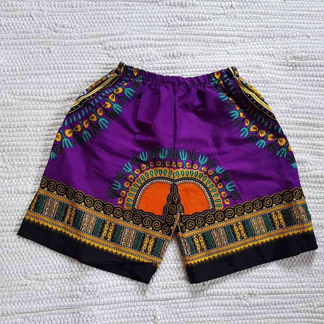 Kid's Dashiki Purple Short Summer Children African Wear