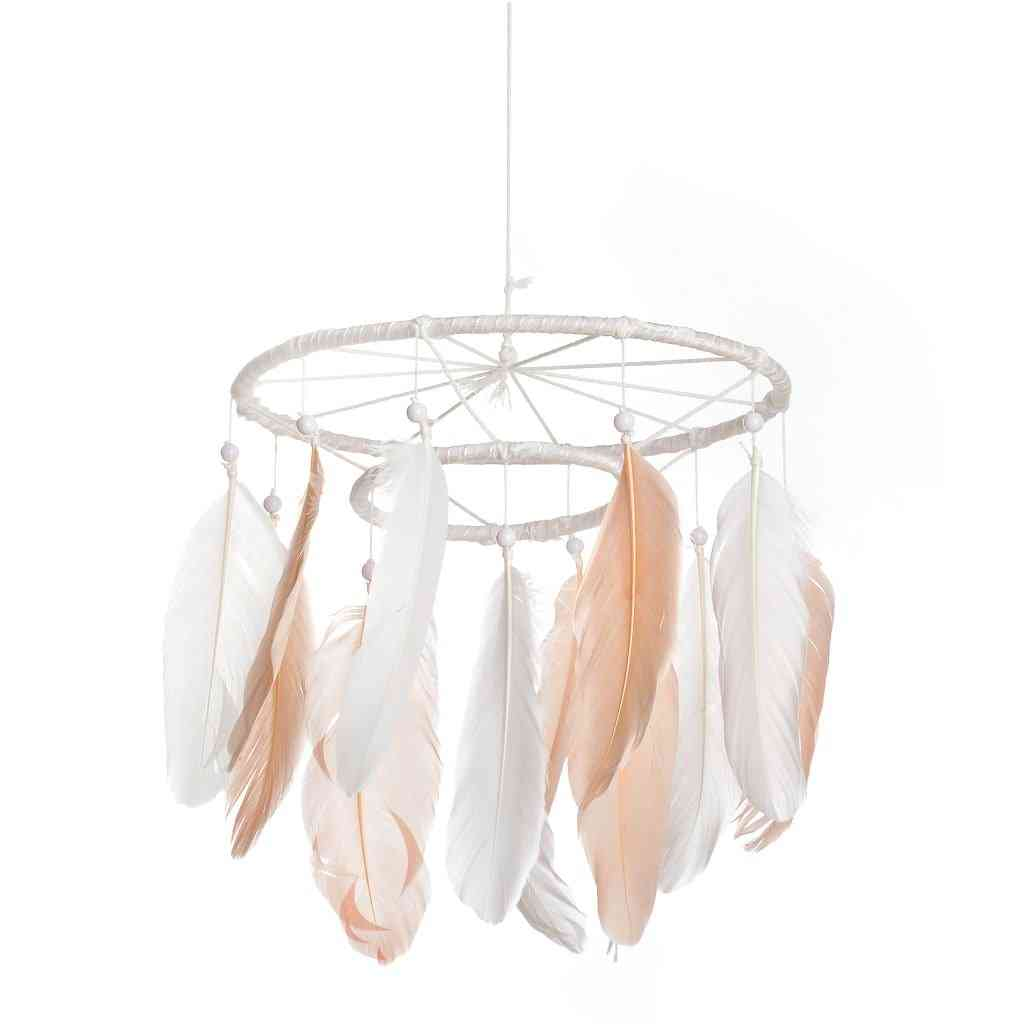 Dream Catcher Pink Mobile White Large Dream Catcher Mobile Feather
