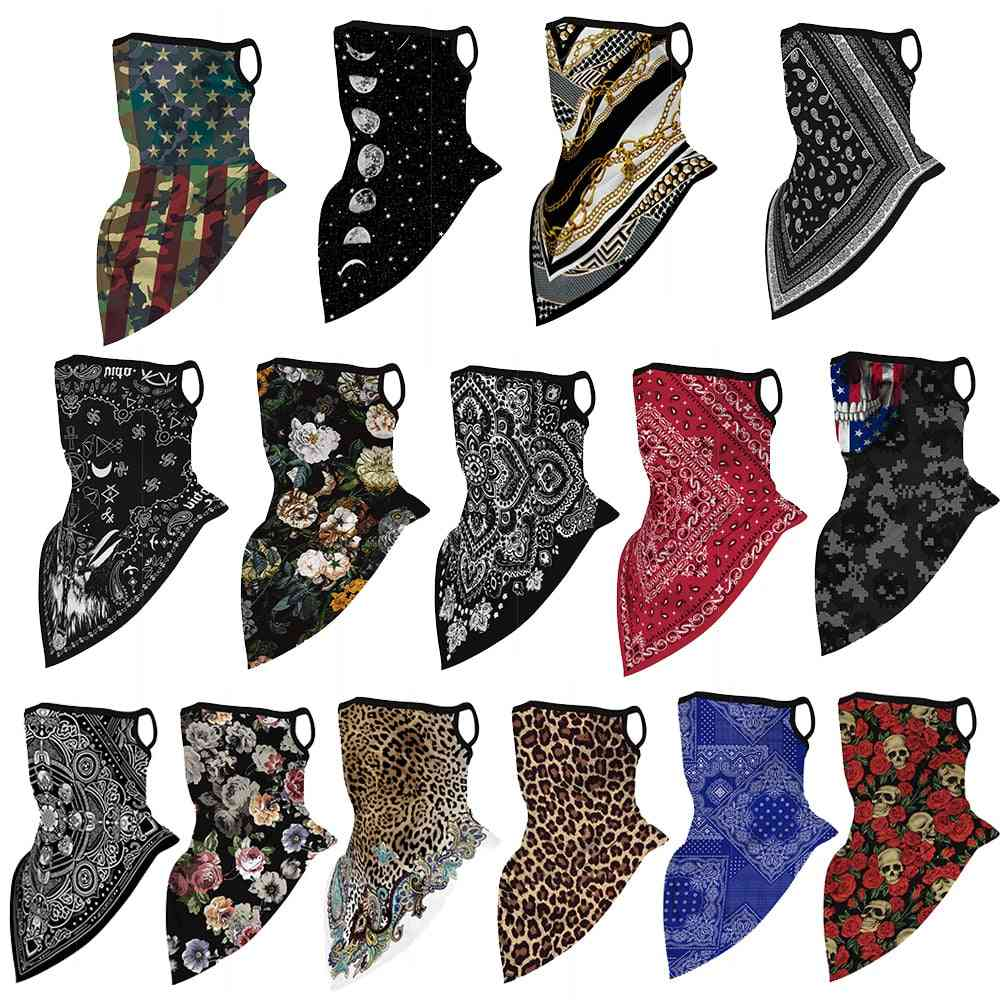 Floral Print Multi-function Scarf, Neck Cover, Face Mask