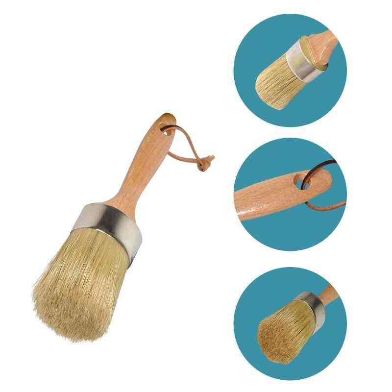 Wooden Handle Chalk Wax Paint Brushes For Wood Furniture