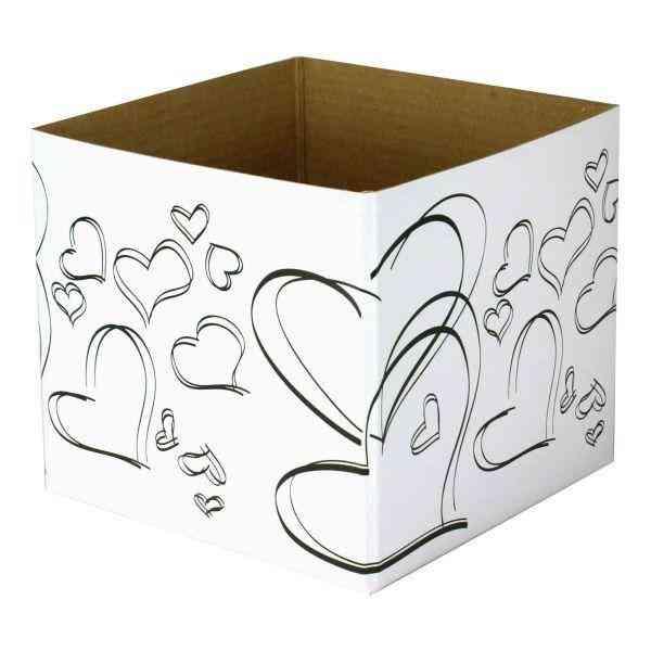 White/black Hearts-small Posy Box