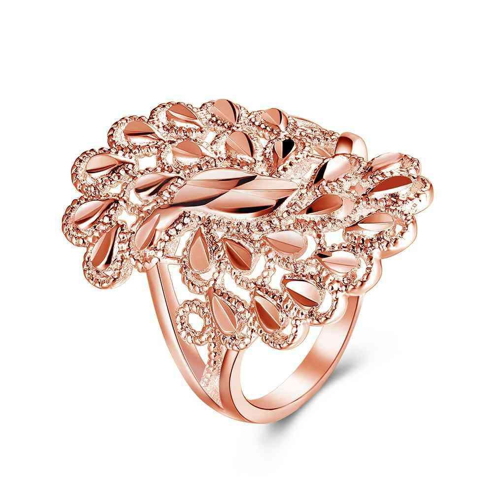 18k Rose Gold Plated Feathered Ring Made With Swarovski