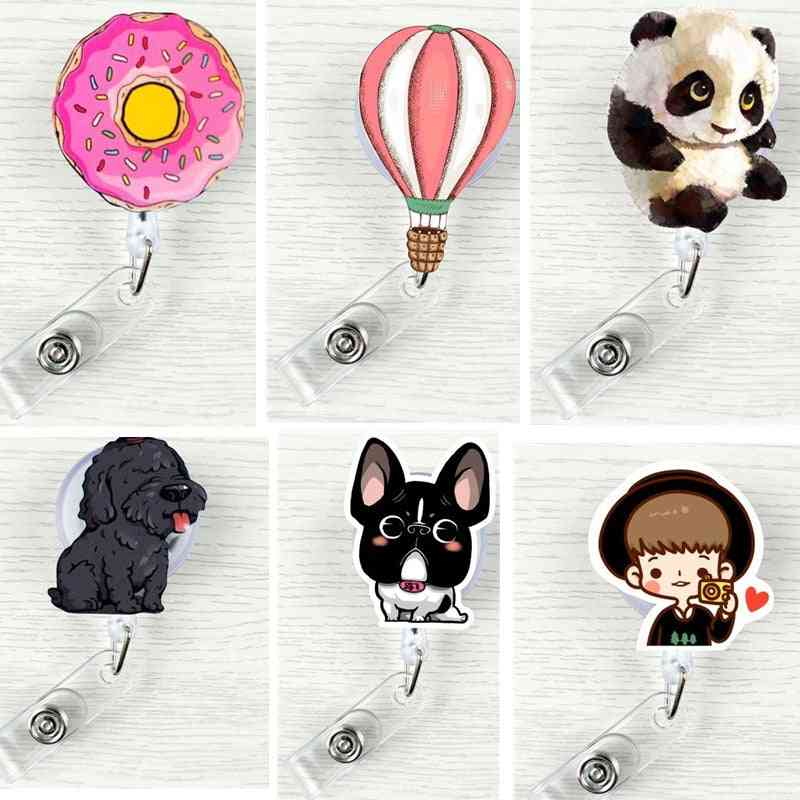 Easy Pull Work Badge Clip Id Retractable Badge Reels For Pass Card Holder