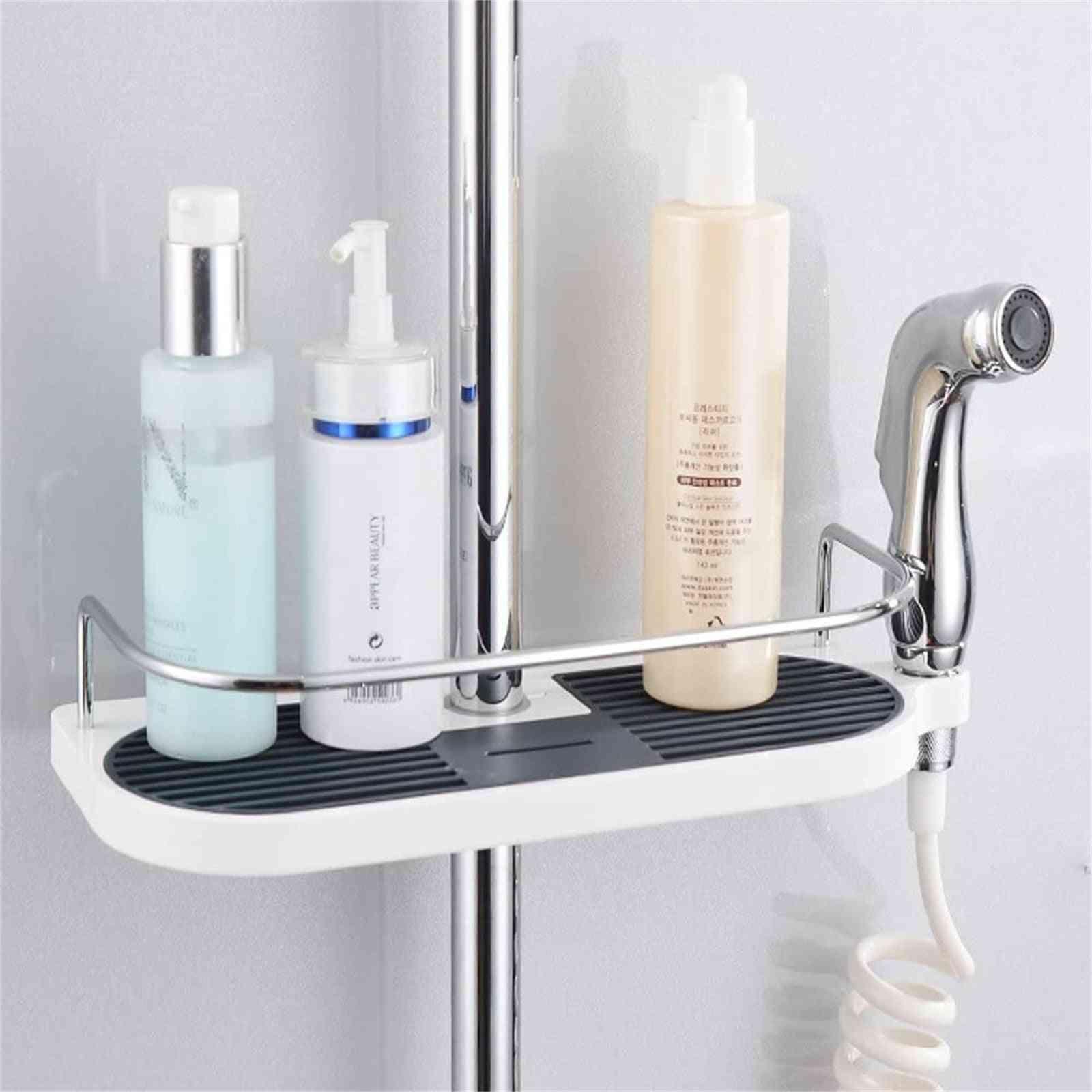 Practical Bathroom Shower Storage Rack Holder Large Pole Shelf
