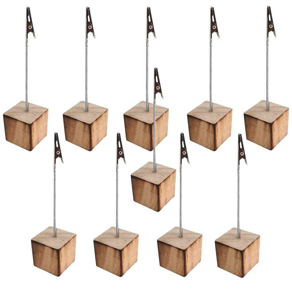 Tabletop Photo Holders With Clip, For Pictures, Memos And Table Numbers - Pine Wood, Cube Base Party, Wedding Decoration