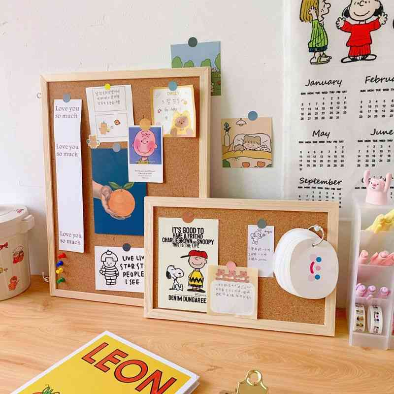 Cork Wood Wall Hanging Message Bulletin Board Frame, Notice Note, Memo For Home, Office, Shop, School