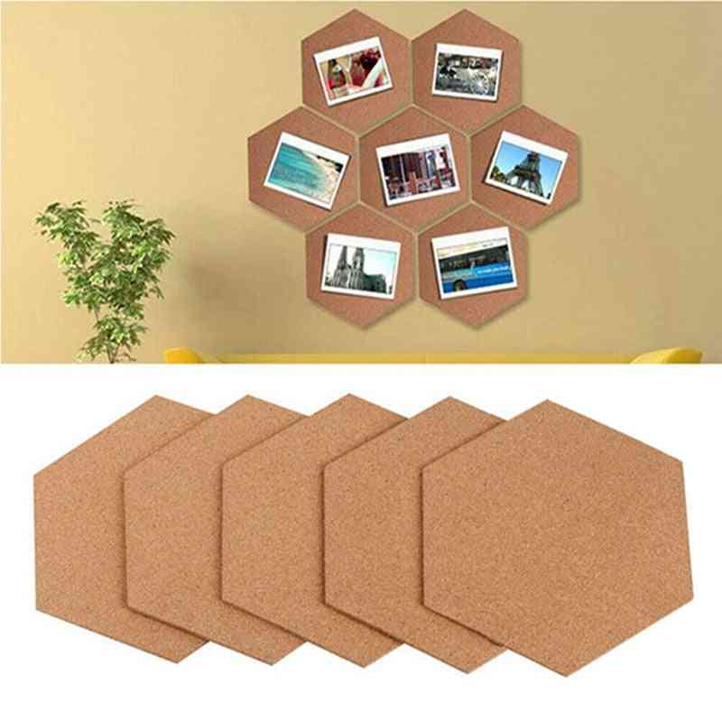 Self-adhesive Cork Board Tiles, Wall Drawing Bulletin Boards, Office, Home, Wood Photo Background, Hexagon Stickers