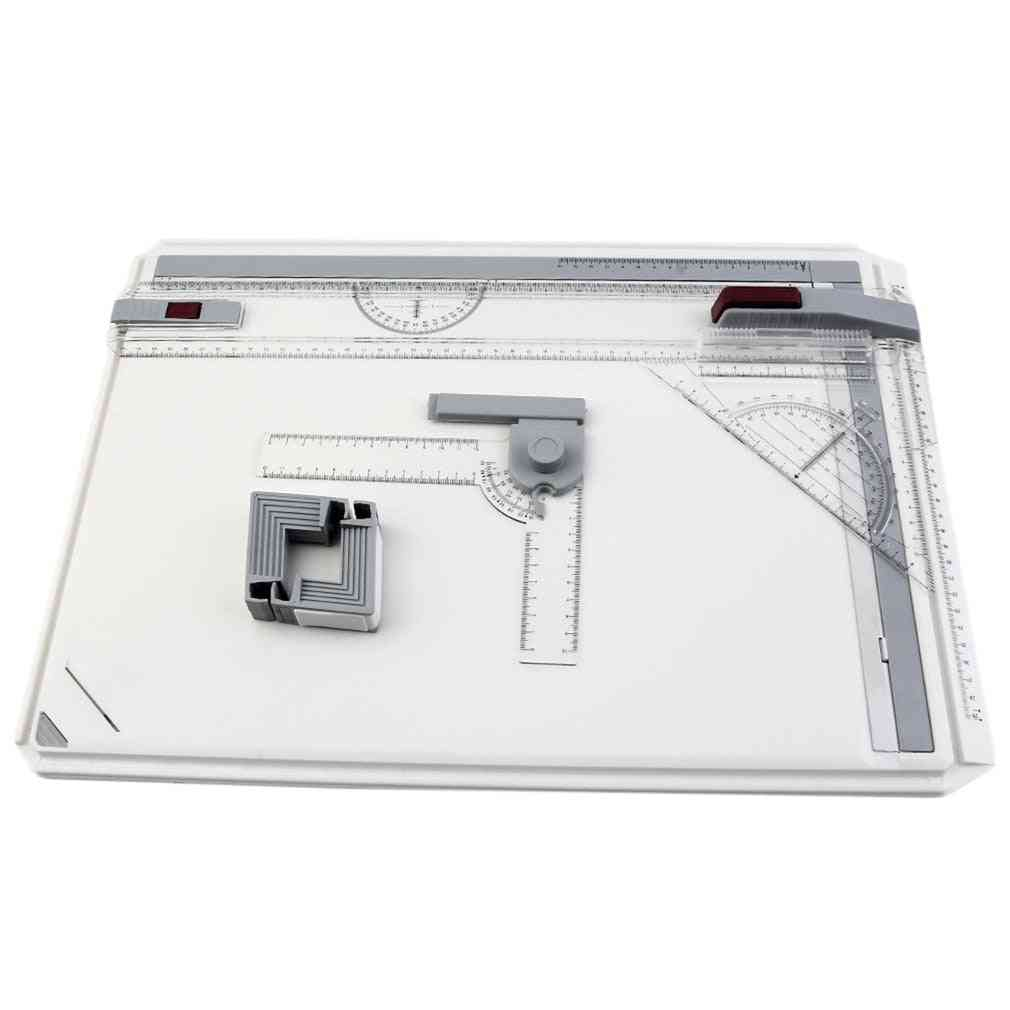 Portable Drawing Board, Table With Parallel, Motion Adjustable Angle, Draftsman Art Painting, Tools Palette