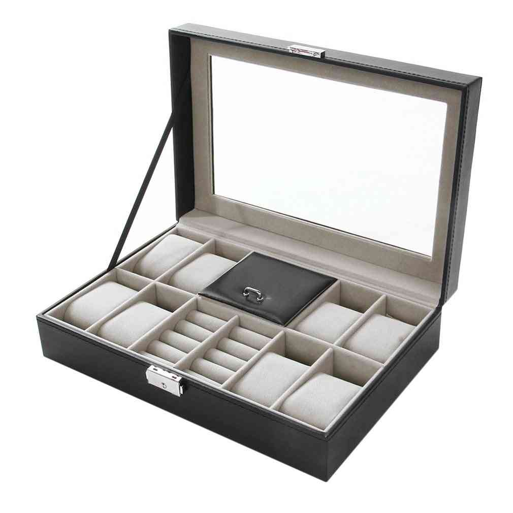 2-in-1, 8+3 Mixed Grids, Rings Storage, Organizer Jewelry, Watch Box