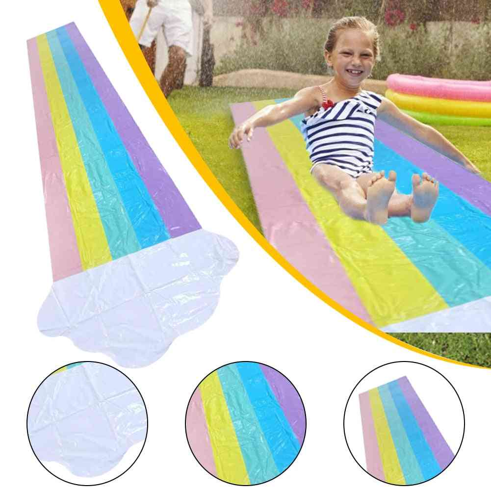 Children Rainbow Single Surf Inflatable Water Slides Pvc Surfboard Cooling Water Spray Toy