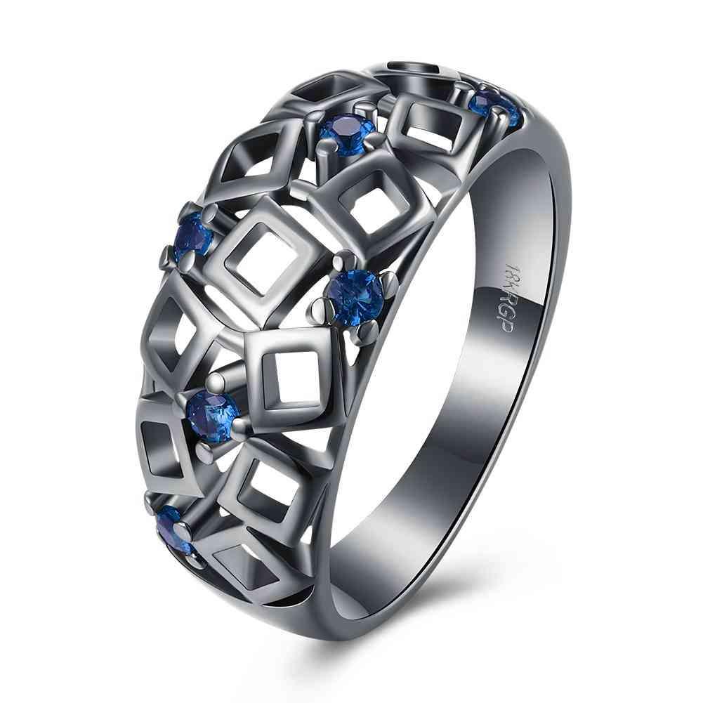 Vintage Black Gold Blue, Geometrical Cutout Ring With Swarovski