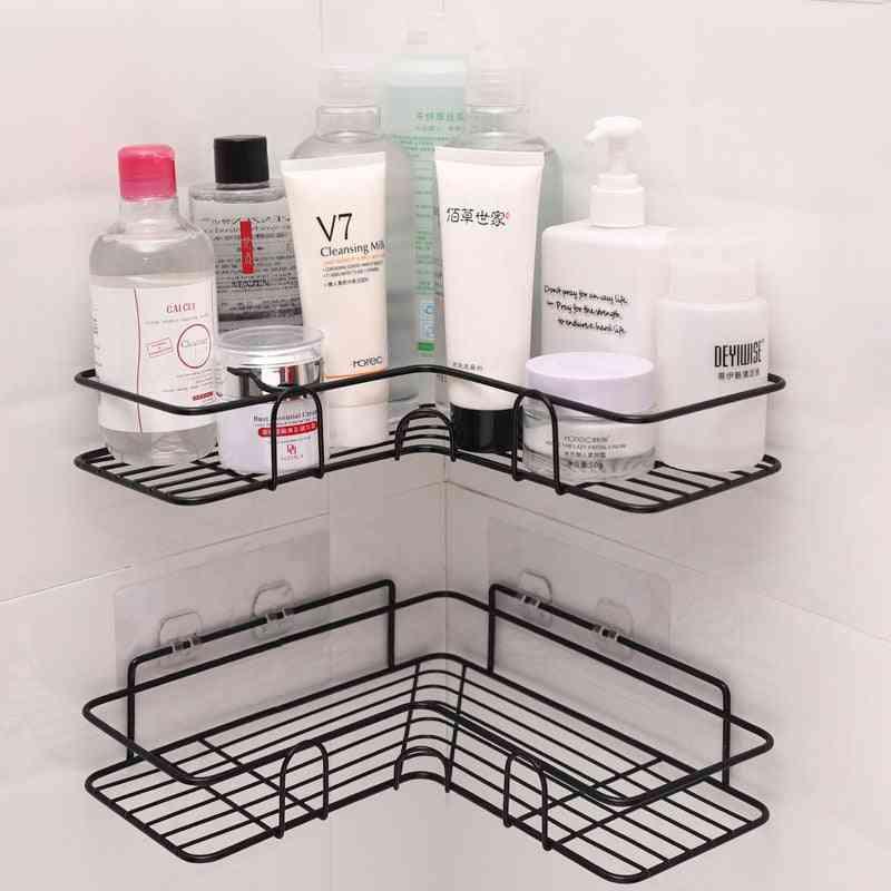 Iron Bathroom Shelf Shower Wall Mount Shampoo Storage Holder With Suction Cup