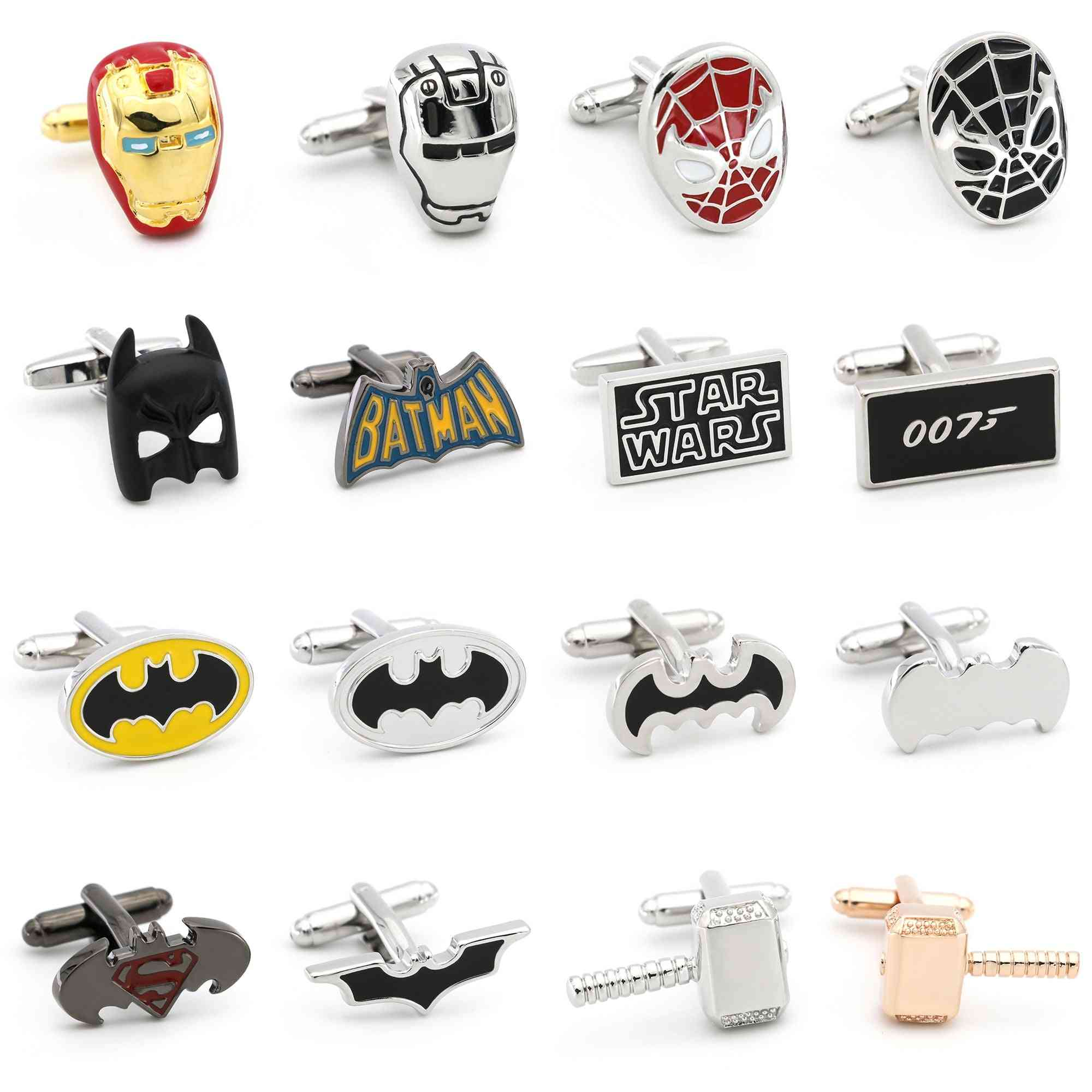Classic Superheroes Cufflinks, Quality Brass Material, Smooth Plating Cuff Links
