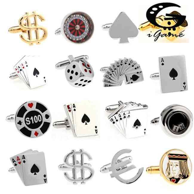 Men Cuff Links, Gamble Casino Series, Roulette Dice, Poker, Jeton Design