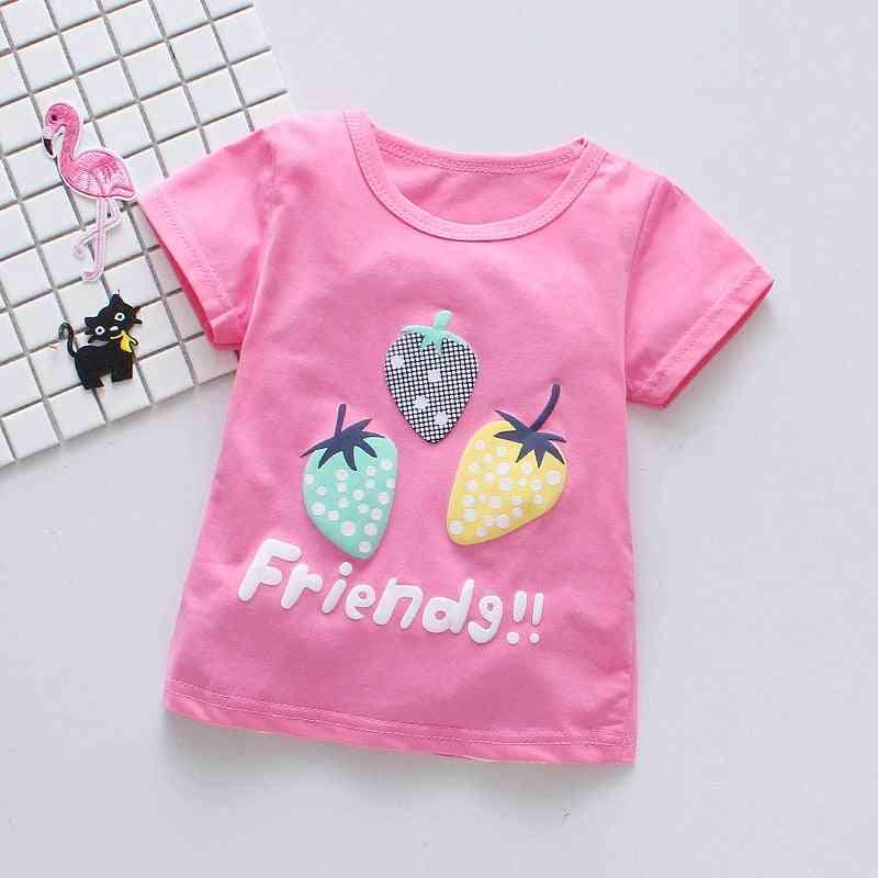Baby Girl T-shirts, Strawberry Pattern T-shirt