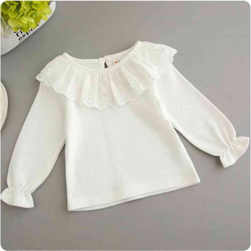 Sweet White Lace Shirt For Baby Girls, Long Sleeve Cotton Shirt