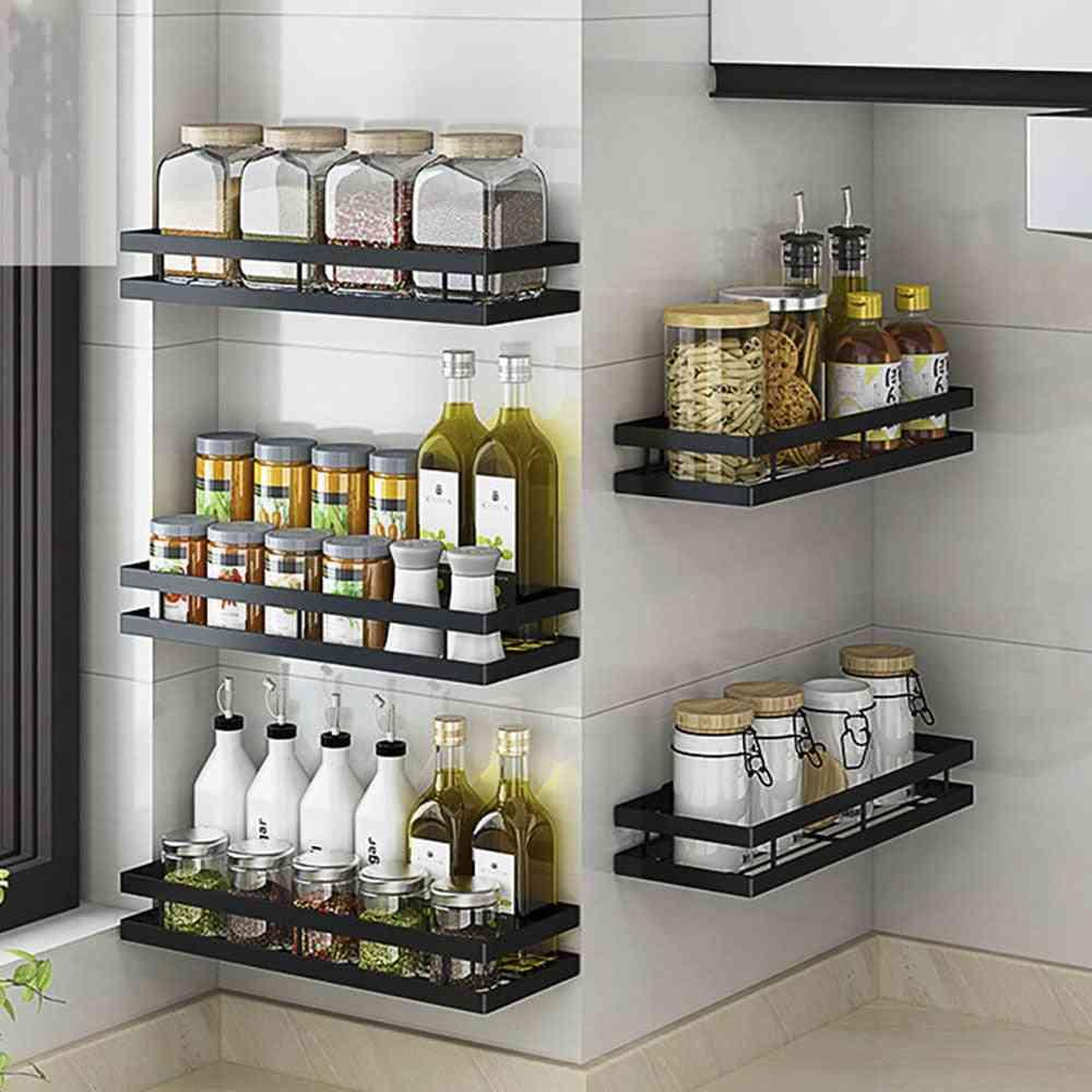 Kitchen Organizer Wall Mount Bracket Holder Storage Shelf For Spice Jar Rack