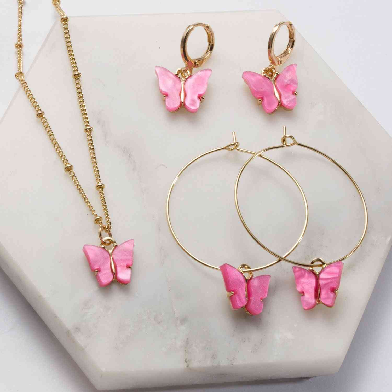 Acrylic Butterfly Pendant Earrings, Necklace Combination Set, Alloy Chain Jewelry Sets