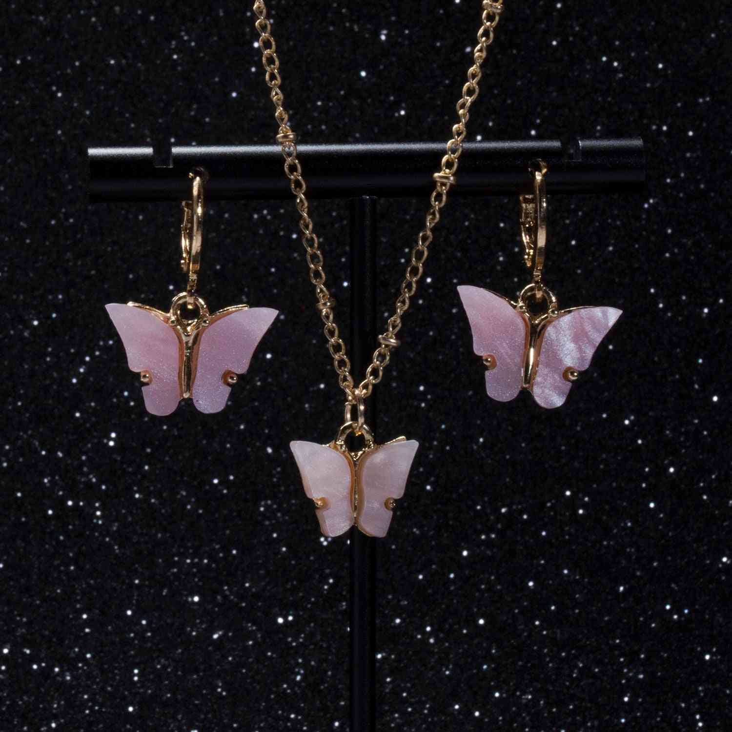 Acrylic Butterfly Earrings, Pendant, Necklaces Combination Set, Alloy Chain Jewelry Sets