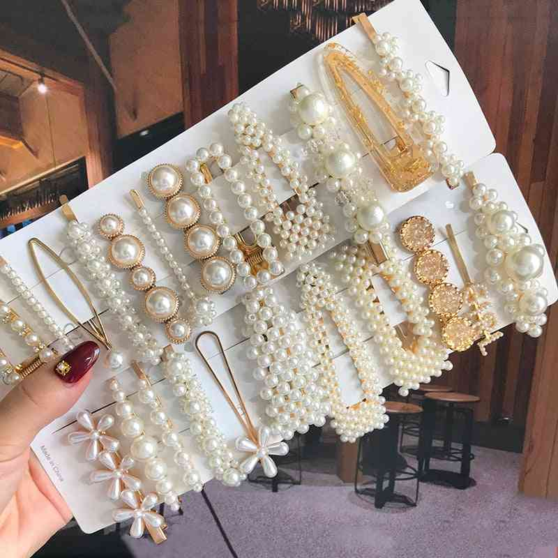 Simulated Pearl Barrettes Beaded Geometric Women Hair Clip, Hairgrips Accessories, Jewelry Pins
