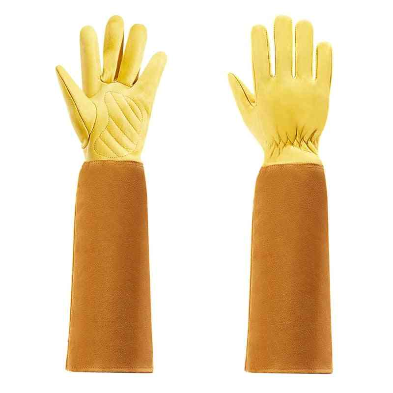 Rose Pruning Cow Leather Gloves With Long Forearm Protection Gauntlet-s