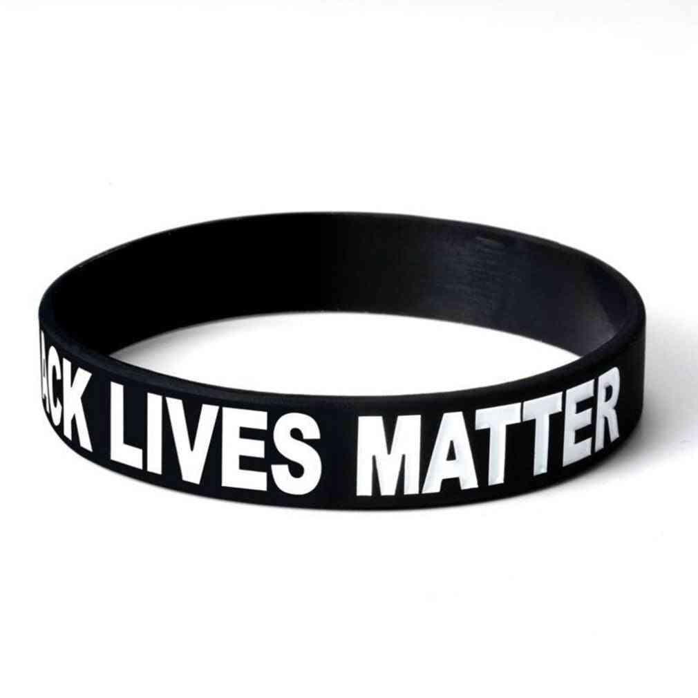 Black Lives Matter Soft Silicone Motivational Bracelet Inspirational With Trendy Sports