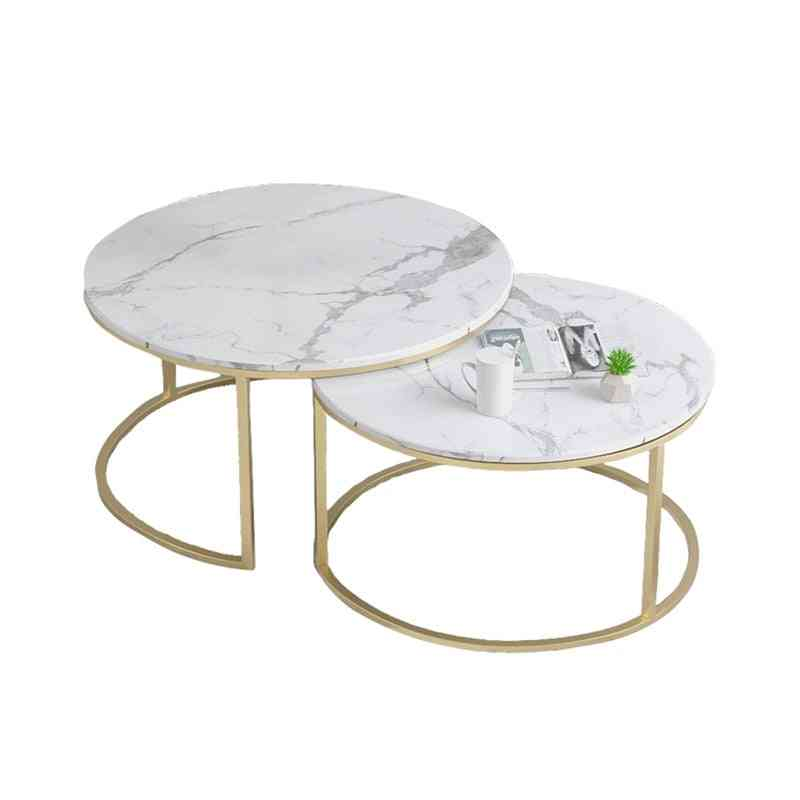 Marble Texture Coffee Table For Living Room Sofa Side
