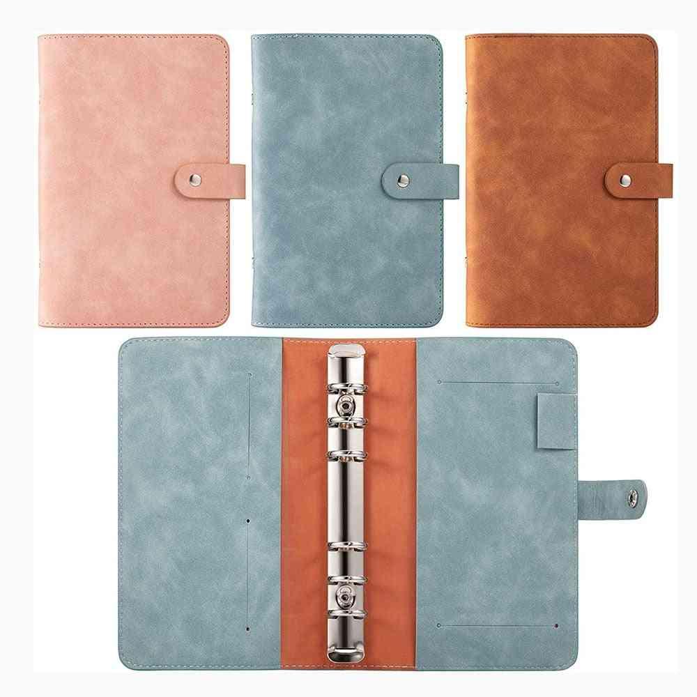 Leather Notebook Binder Refillable Ring Binder Cover For Filler Paper Binder Pockets