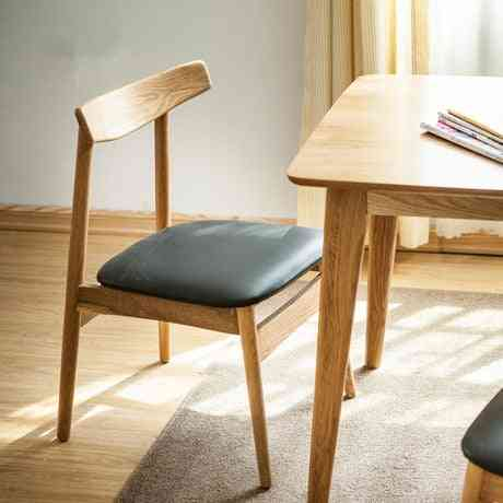 Solid Wood+leather Cotton Fabric Coffee Dining Chair