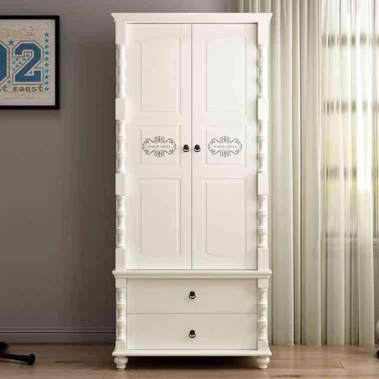 Multifunctional's Wardrobe Solid Wood Storage Organizer With Drawers Double-door's Bedroom Locker