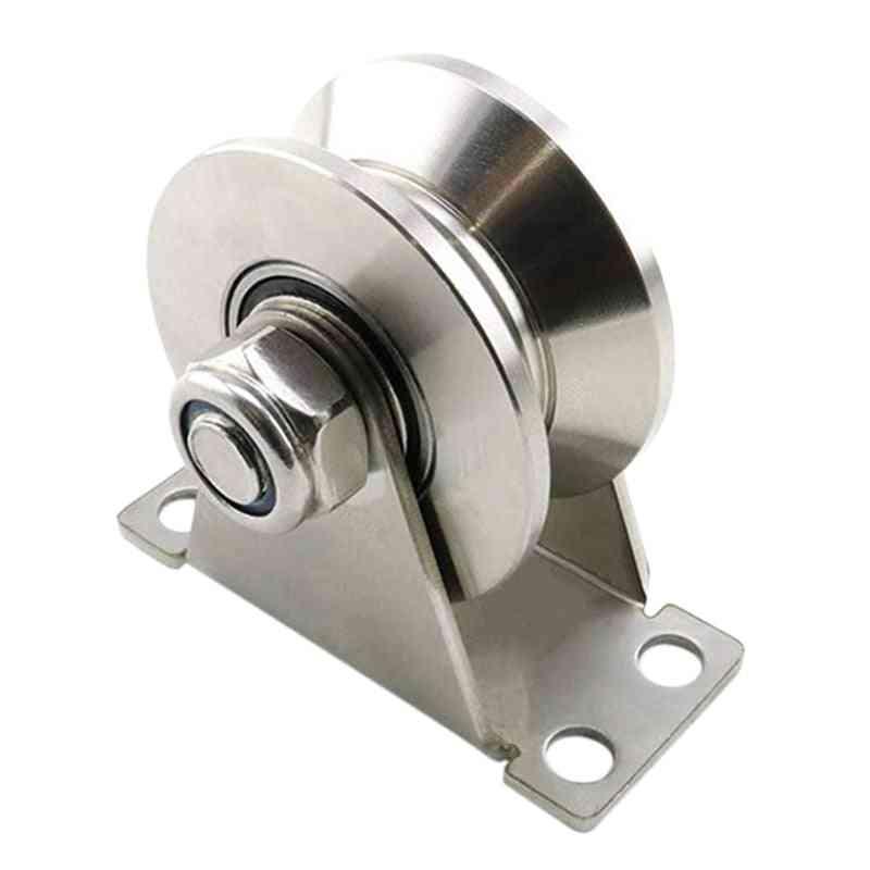 U-type Stainless Steel Pulley Block Mute Bearings Groove Sliding Roller Track Wheel