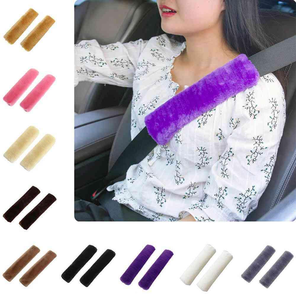 Soft Car Seatbelt Cover, Sheepskin Seat Belt Pillow Pad Seat