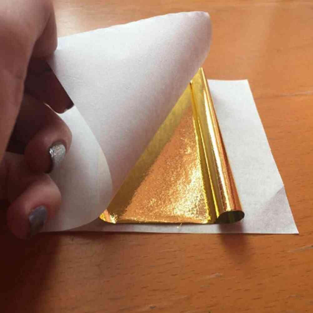 Art Craft Paper Imitation Sheets Foil Gilding Diy Decorations Gold/silver/copper Foil Double Sided