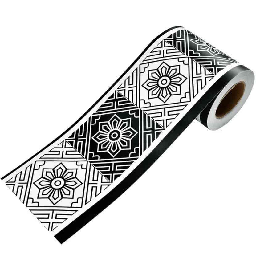 Flower Grid Wallpaper Borders, Waterproof Bathroom Tile Waist Line Stickers