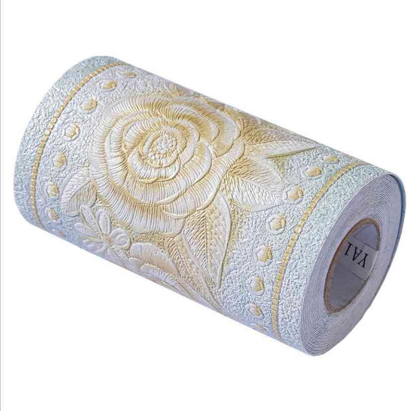 High Quality Flower Wallpaper Borders Waterproof Bathroom Tile 3d Pvc Vintage Floral Trim Line Skirting Board Sticker