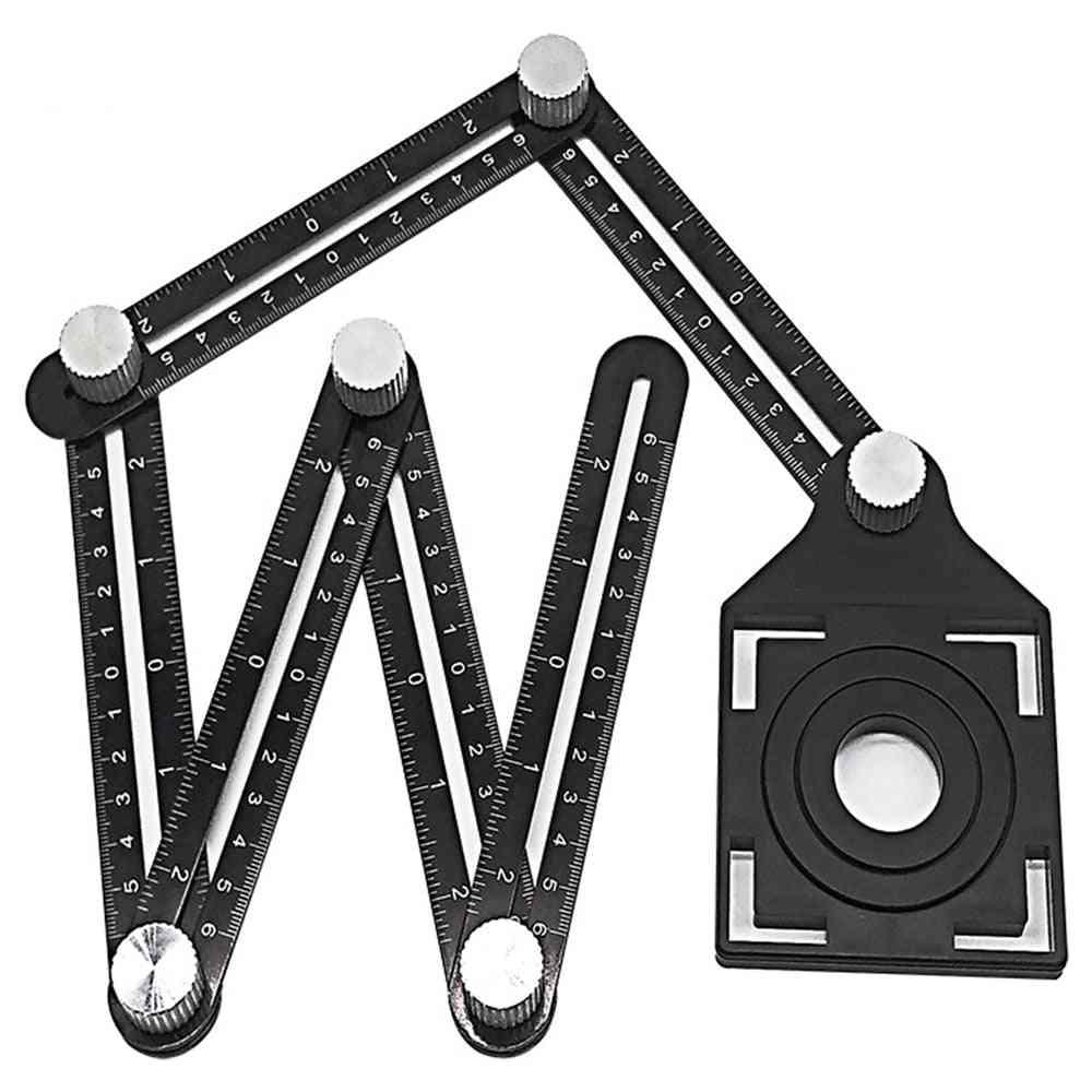 Adjustable Ceramic Tile Hole, Locator Angle Ruler, Drill Guide, Folding, Woodworking Gauge, Measuring Tool, Slide Protract