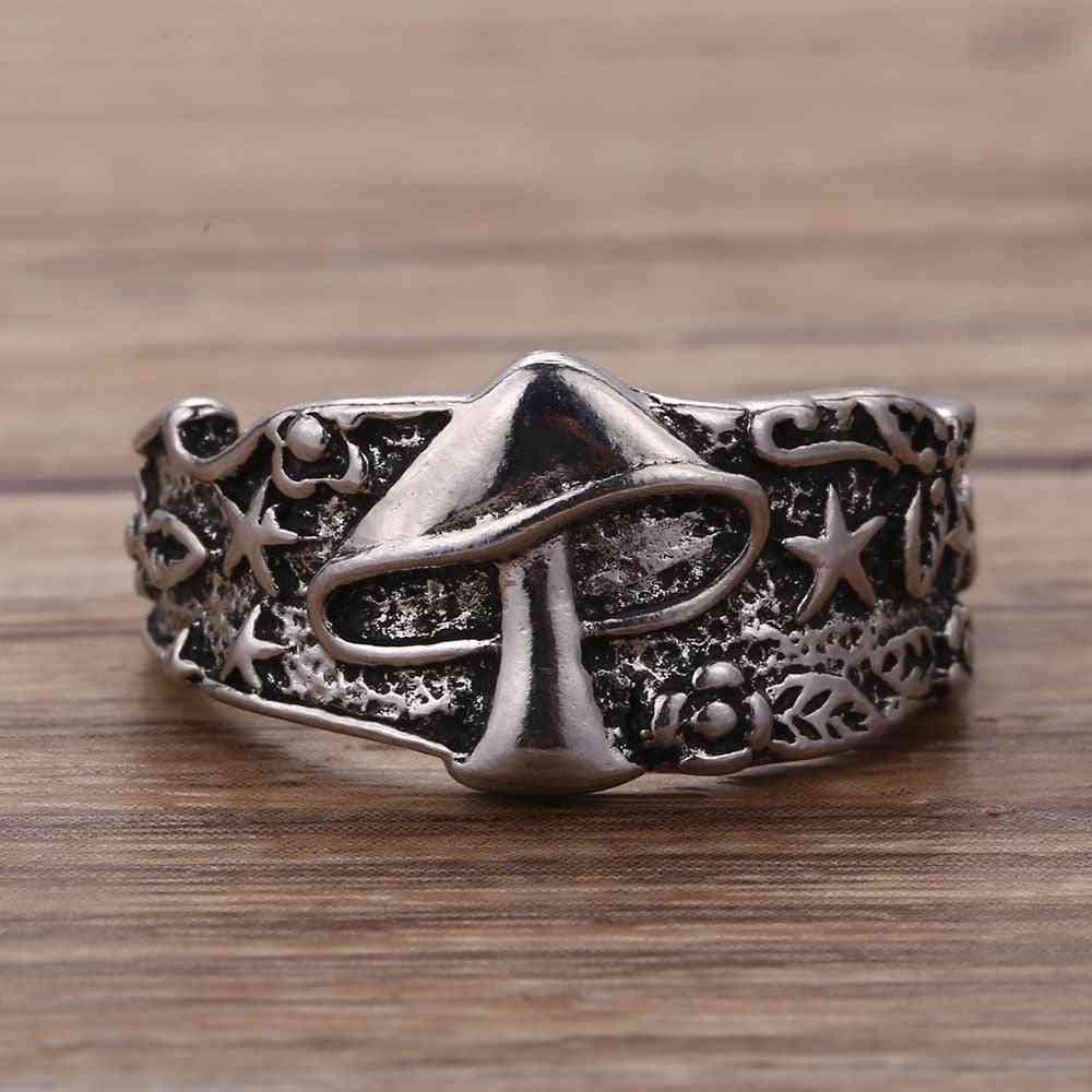 Vintage Star Flower Pattern Ring For Women, Men, Multi Size Femme Statement Retro, Punk, Hip Hop Biker Finger Party Night Club Rings