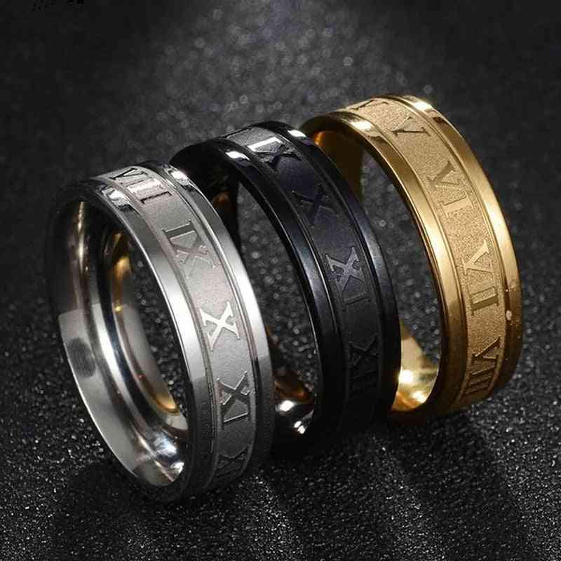 Vintage Roman Numerals Men Rings, Stainless Steel Ring Jewelry