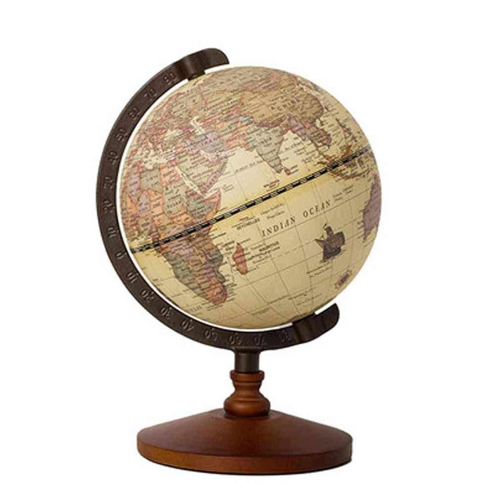 Earth Map In English Retro Style Wooden Base Globe